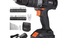 Taladro atornillador percutor Tacklife PCD04C, portabrocas 13mm, 16 configuraciones, batería 2000mAh por 43,99€.