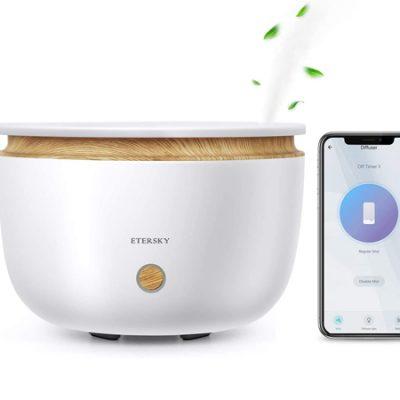 Humidificador Wifi de aceites esenciales Etersky, 500ml, control por app o por voz con Alexa Echo y Google Home por 35,99€.