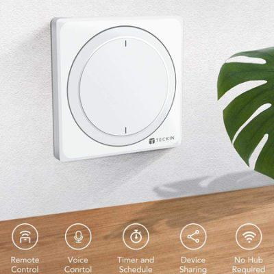 Interruptor inteligente de pared Teckin, compatible con Alexa y Google Home por 13,99€.
