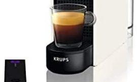 Nespresso Krups Essenza Mini XN1101 – Cafetera monodosis de cápsulas Nespresso, compacta, 19 bares, apagado automático, color blanco (Pack Cápsulas bienvenida incluido)