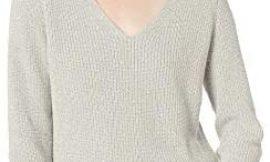 Marca Amazon – Goodthreads Cotton Half-Cardigan Stitch Deep V-Neck Sweater Mujer