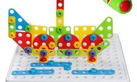 Juego de Construcción Asamblea Rompecabezas de Mosaico Puzzle 3D Bloques Juguete con Tornillos y Llave de Construccion DIY Juguetes Educativos Creativos para Infantil Niños Niña 3 4 5 Años, 129pcs