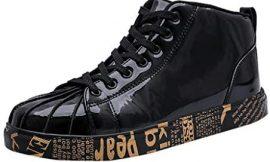Zapatillas de Running Hombre Mujer Zapatos de Moda Parejas Lacquered Cuero Casual Zapatos Gimnasio Correr Sneakers Suave y Cómodo 39-48 riou