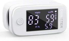 Oxímetro de dedo profesional KKmier Saturometer Oxímetro de pulso con pantalla LED Medición portátil de SpO2 PR PI para adultos Niños de edad avanzada (baterías y cable)