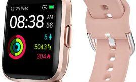 YONMIG Smartwatch, Reloj Inteligente Mujer Hombre con Oxigeno(SpO2), Pulsera Actividad Inteligente Impermeable 5ATM con Brújula Monitor de Sueño Contador Caloría Pulsómetros para Android y iOS (Rosa)