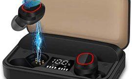 bakibo Auriculares Inalámbricos Bluetooth 5.1, Emparejamiento Automático TWS Deporte Micrófono Auriculares con LCD Estuche de Carga 3100mah, 120 Horas de Duración, Control Táctil, para Correr