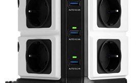 BESTEK Regleta Enchufe Vertical de 8 Tomas y 6 Puertos de USB
