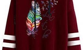 YIKEYO Sudadera Chica Adolescente con Capucha Mujer Sudaderas Tumblr Estampado de Plumas de Colores Casual Ropa Juvenil Invierno 2020 Otoño
