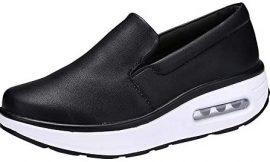 Mujer Zapatillas de Deporte Cuña Cuello Redondo Air Cushion Slip-on Leisure Zapatos cómodos Gimnasia Ligero Zapatos Shake riou