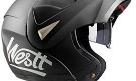 Westt Torque – Casco De Moto Modular Integral Negro Mate con Doble Visera – Motocicleta Scooter – Certificado ECE