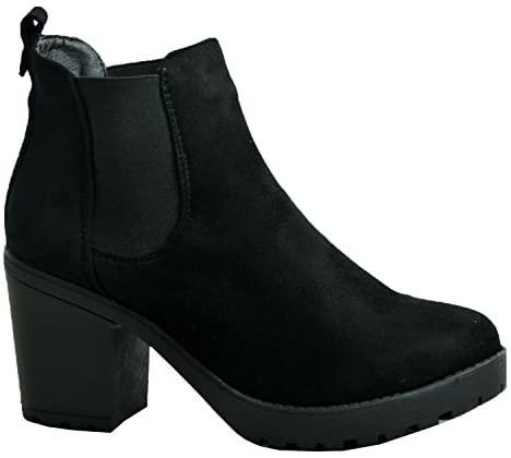 En este momento estás viendo Para mujer Mid bloque de Chunky Heel Chelsea bajo tobillo botas sintético con refuerzos de doble plataforma zapatos de mujer negro ante talla UK