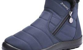 gracosy Botas de Mujer 2020 Otoño Invierno Goma Encaje Forro de Piel Punta Redonda Botas de Nieve Zapatos de Trabajo Formal Calzado Antideslizante Ligero Botines Que Caminan