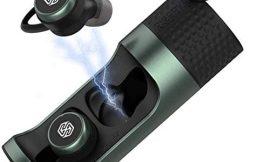 Nillkin Auriculares inalámbricos Bluetooth 5.0 con Estuche de Carga Auriculares estéreo TWS Impermeables IPX5 con Sonido sin pérdida de Audio Apt-X, 65H Playtime, Apto para Deportes (Verde)