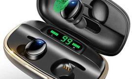 Moosen Auricular Inalámbricos Bluetooth, TWS Sonido Stéreo CVC8.0 Auriculares Inalámbricos con Pantalla LED de 135 Horas de Reproducción, IPX7 Impermeables Auriculares para iOS Android