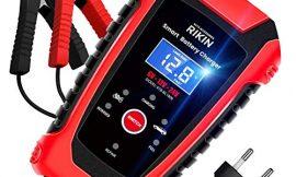 AOKBON Cargador de Batería Coche 6A 6V/12V/24V Cargador Rápido Automático Protección Múltiple con Pantalla LCD para Motos Automóviles Barco