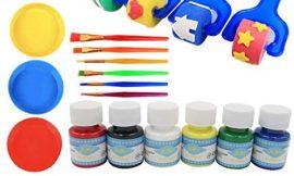 YOYOHO 46Pcs / Set DIY Plastic Handle Roller Sponge Brush Niños Dibujo Juguetes – Azul