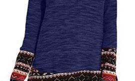 CNFIO Mujer Vestido Cuello Redondo Manga Larga Plus Tamaño Tops Moda Jersey Punto Mujer