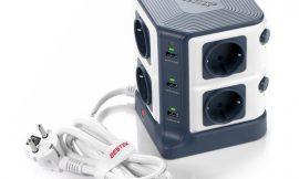 Oferta del día! Base regleta Bestek con 8 enchufes y 6 puertos USB por 33,59€.