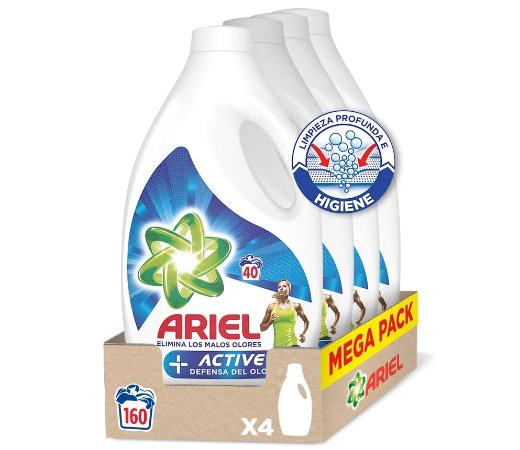 En este momento estás viendo Oferta Black Friday! 4 Envases de Detergente líquido para lavadora Ariel + Active Odor Defense (4×40=160 lavados) por sólo 38,24€.