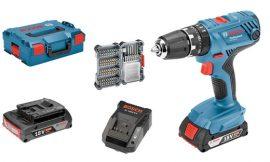 ¡Oferta del día! Taladro percutor Bosch GSB Professional 18V-55, con 2 baterías 2,0 + 35 puntas + caja por sólo  por 170,99€.