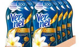 8 Envases de suavizante Vernel Aromaterapia Lirio Irresistible (8×57=456 lavados) por sólo 19,40€.
