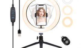 Anillo de luz led regulable con trípode, adaptador para smartphone y control remoto por 15,59€ antes 25,99€.