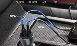Cargador para coche Ugreen 36W, 2 puerto C Power Delivery 3.0 por 10,99€.