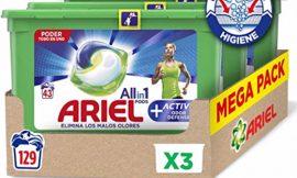 ¡Oferta del día! Ariel Pods All in One Active pack tres cajas (129 lavados) por 35,99€.