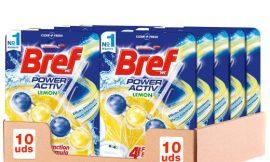 10 Colgadores para inodoros Bref Power Active con aroma de limón por sólo 14,00€.