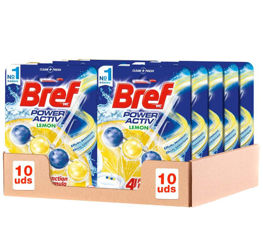 En este momento estás viendo 10 Colgadores para inodoros Bref Power Active con aroma de limón por sólo 14,00€.