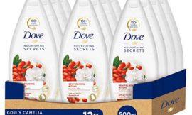 Pack de 12 botellas de gel de ducha Dove con bayas de goji y camelia (12×500 ml) por 23,45€.
