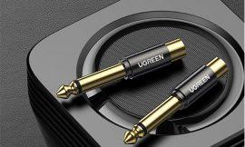 2 adaptador 6.35mm a RCA Ugreen chapados en oro de 24k por 5,99€.
