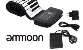 Piano enrollable ammoon, 88 Teclas, pedal de sostenimiento de la batería, 100mA por 51,99€.