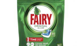 252 cápsulas para lavavajillas Fairy Original todo en 1 por 35,98€.