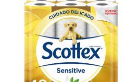 42 Rollos de papel higiénico Scottex Sensitive por 16,88€.