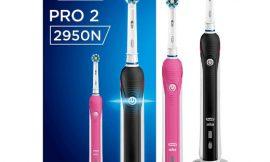 Pack de 2 cepillos de dientes eléctricos Oral-B Pro 2 2950N CrossAction por sólo 59,99€.