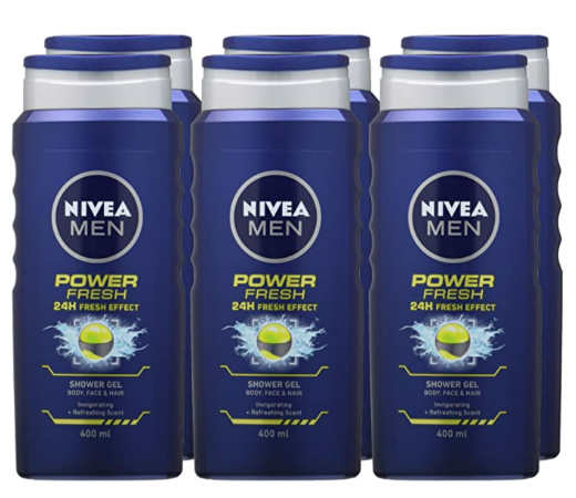 6 Botellas de gel de ducha Nivea Power Fresh (6x400ml) por sólo 11,29€.