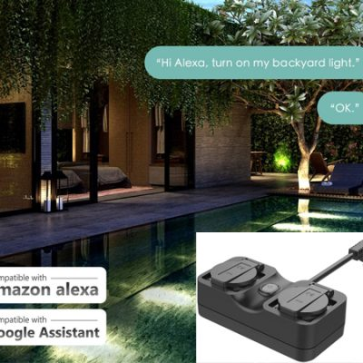 Enchufe doble inteligente Meross compatible con Alexa, Google Home y SmartThings, IP44 por 16,99€ antes 26,99€.