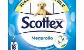 Papel Higiénico Scottex Megarollo de 9 rollos por 3,49€.