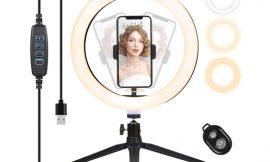 Anillo de luz Decdeal 260mm con trípode, control remoto y soporte para smartphone para Youtube/Tiktok por 15,59€ antes 25,99€.