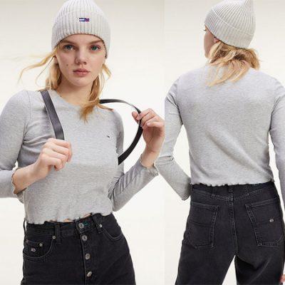 Camiseta de manga larga y corte cropped Tommy Hilfiger Rib Crop Longsleeve para mujer por sólo 19,00€, antes 39,90€.