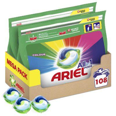 Detergente en cápsulas Ariel Pods 3 en 1; lote 2 envases  (108 lavados) por 27,58€ y 90 lavados por 24,25€.