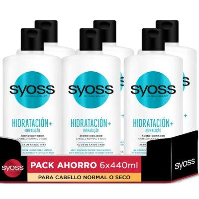 6 Envases de acondicionador Syoss Hidratación plus (6x440ml) por sólo 10,99€.
