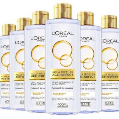 6 Botellas de Agua micelar L'Oréal Paris Age Perfect (6x400ml) por sólo 12,33€.
