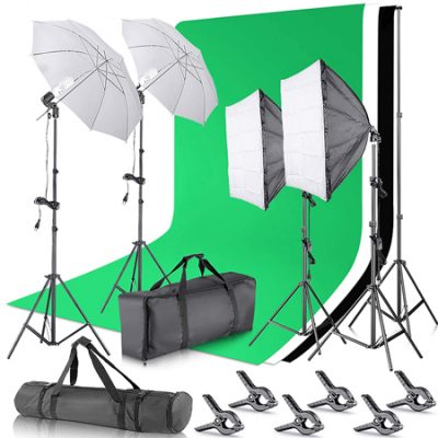Kit de estudio fotográfico Neewer con dos Softbox, 2 paraguas, 4 luces led de 45W, 4 trípodes y 3 fondos por 129,99€ antes 199,99€.