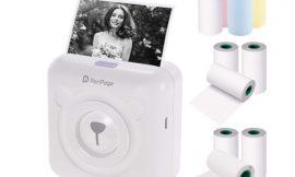Mini impresora térmica Aibecy peripage Mini Pocket, bluetooth 4.0/USB, 1000mAh con 3 rollos de papel térmico de color+6 rollos de papel blanco adhesivo/sin adhesivo por 50,99€.