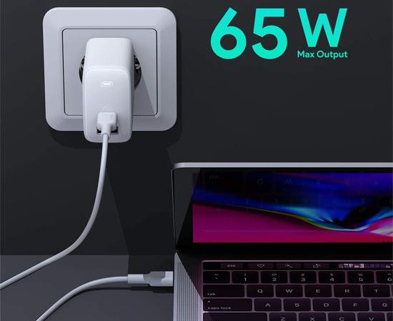 Cargador de red Aukey Omnia 65W, puertos USB Power Delivery 3.0 (A/C), tecnologías GaNFast/Dinamic Detect por 27,59€ antes 45,99€.